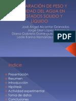 COMPARACIÓN DE PESO Y DENCIDAD DEL AGUA