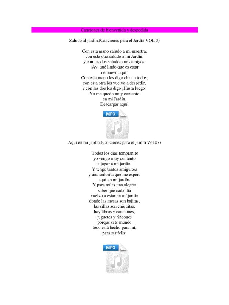 canciones de bienvenida y despedida letras On mi jardin con enanitos letra