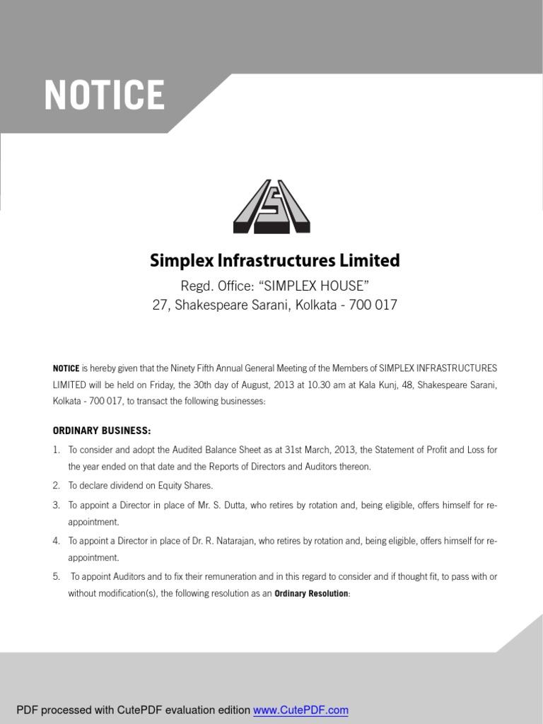 SIMPLEX INFRA pdf | Board Of Directors | Employee Benefits