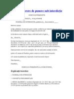Model de cerere de punere sub interdicţie