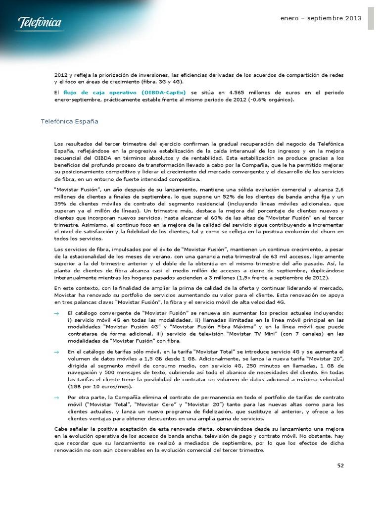 resultados telefónica ESPAÑA 3 trimestre 2013