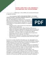 Intervención escrita de la Presidenta  de sesión extraordinaria del 5 de septiembre del 2013