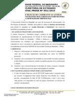 Edital Nº 0512013 Auxílio PARFOR