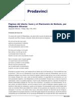 Paginas Del Diario Icaro y El Manicomio de Barbula Por Alejandro Oliveros