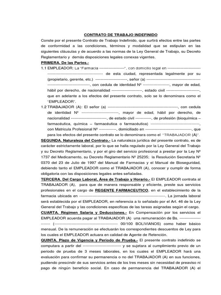 Contrato de trabajo modelo para regente farmacia 1 Contrato laboral de trabajo