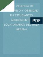 pre valencia de sobrepeso y obesidad en estudiantes adolescentes ecuatorianos del área urbana