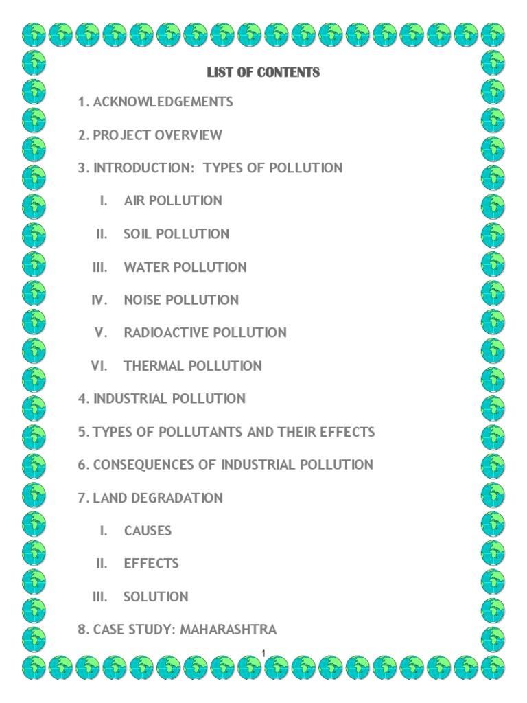 Project On Pollution Pollution Environmental Degradation