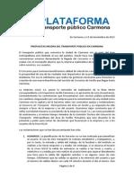 Manifiesto Plataforma transporte público Carmona