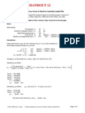 Example Calculation of p-y Curve in Sand for Laterally Loaded Pile