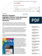 Minister Goodyear Highlights Historic Trade Agreement With the European Union in Kitchener