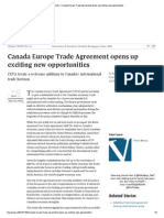 Canada Europe Trade Agreement opens up