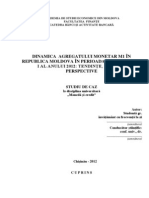 DINAMICA  AGREGATULUI MONETAR M1 ÎN REPUBLICA MOLDOVA ÎN PERIOADA TRIMESTRULUI I AL ANULUI 2012