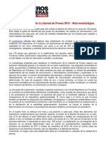 Informe Reporteros sin Fronteras