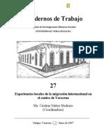 Nuñez 2007.  Experiencias locales de la migracion internacional en el centro de veracruz