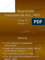The Negotiable Instruments Act ,1881