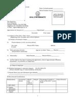 Application Form Goa University Teaching Positions