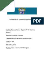 Panificación Comunidad  Avanzini-Capiglioni