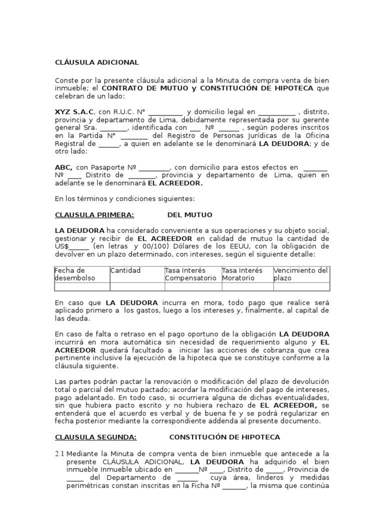 Contrato de mutuo con garant a hipotecaria for Contrato de hipoteca