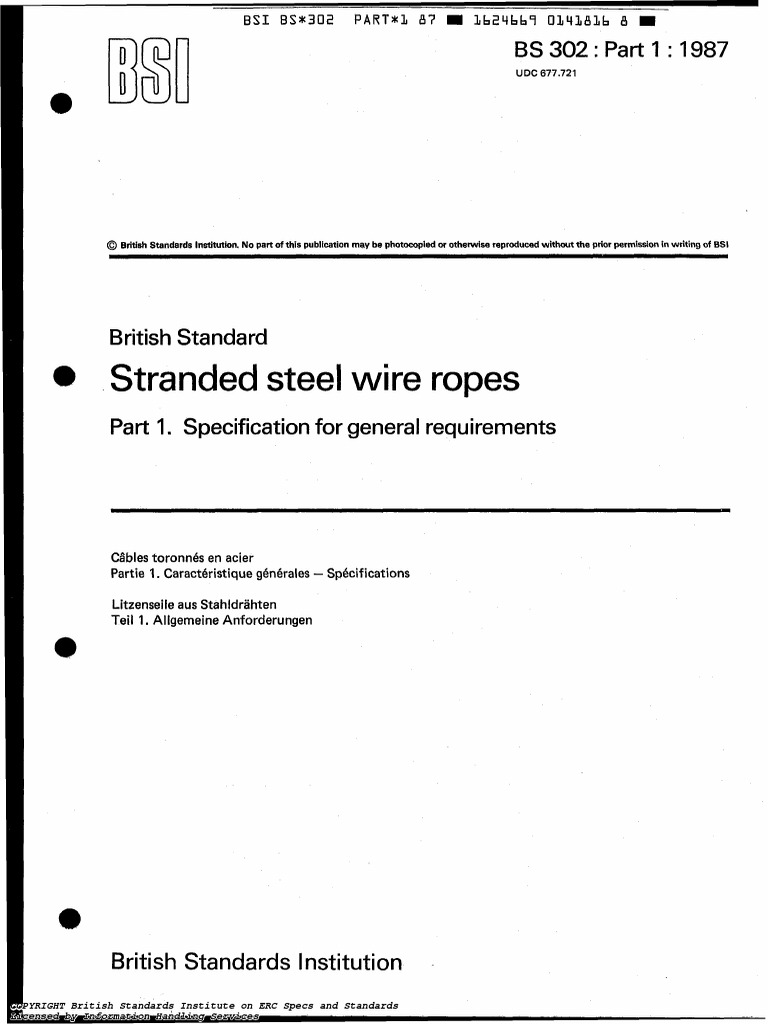 Bs 302-Part1-1987(Steel Wire Ropes-specification for General | Rope ...