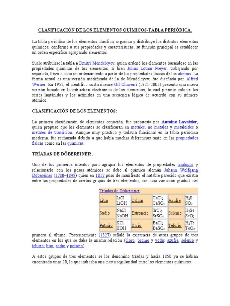 Clasificacin de los elementos qumicos urtaz Image collections