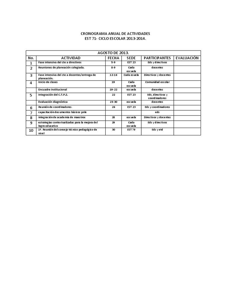 Cronograma Anual de Actividades 2013-2014. EST 71