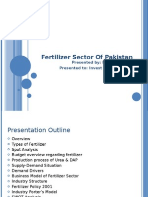 Fertilizer Sector of Pakistan | Urea | Fertilizer