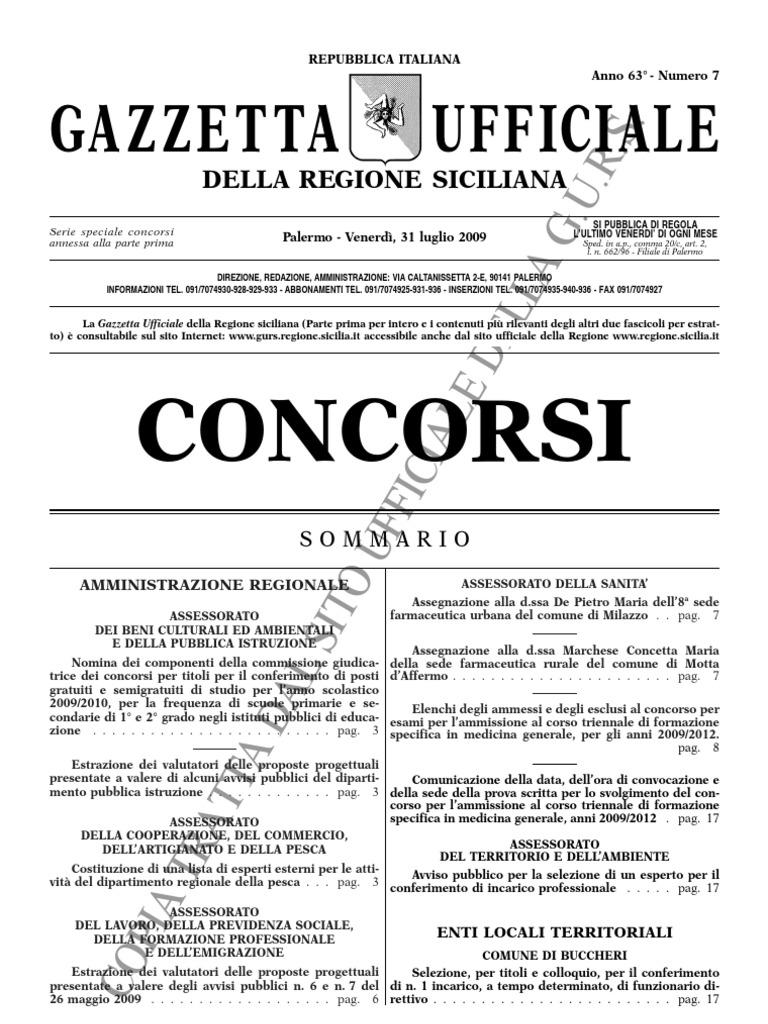 Gazzetta Concorsi Regione Siciliana