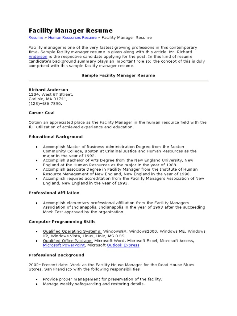 facility manager resumedocx school counselor microsoft