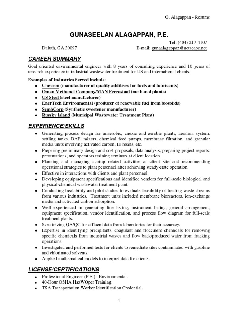 Magnificent Wastewater Engineering Resume Image - Resume Ideas ...