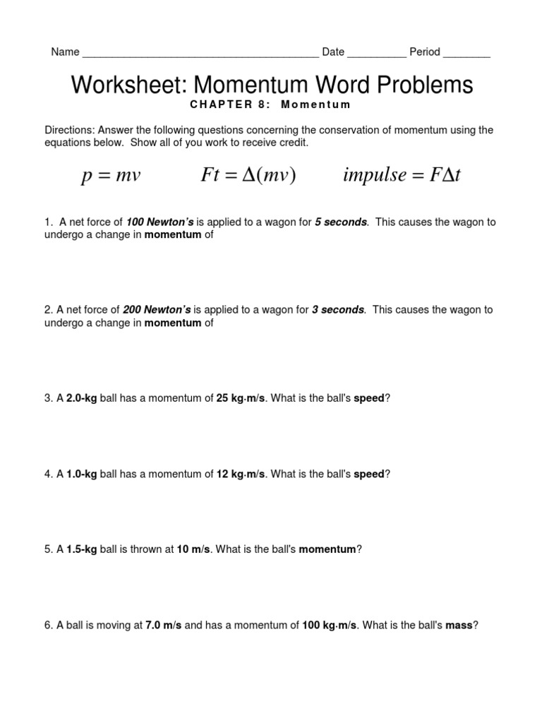Worksheets Momentum Worksheet worksheet ch equation review momentum word problems pdf