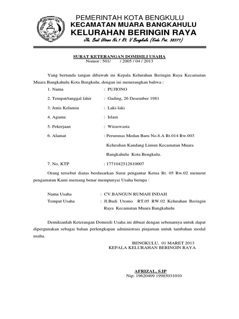 Contoh Surat Keterangan Domisili Lembaga Doc