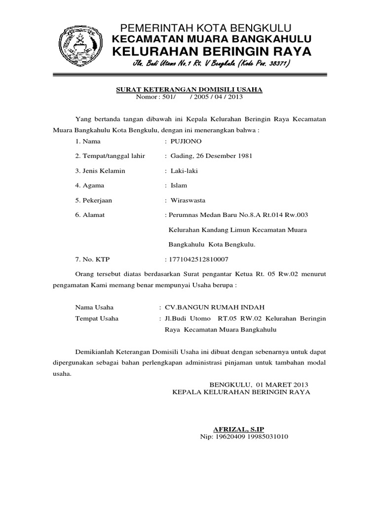 Surat Keterangan Domisili Usaha 1 Docx