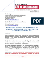 RTIFED Letter to Commission - 052 - 10 Nov 2013 - Practice of Summary Disposal of Complaints by CIC and Reminding Them Back