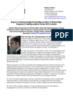 Expert in German Hedge Funds Marcus Storr at Noted High-frequency Trading Leaders Forum 2013 London