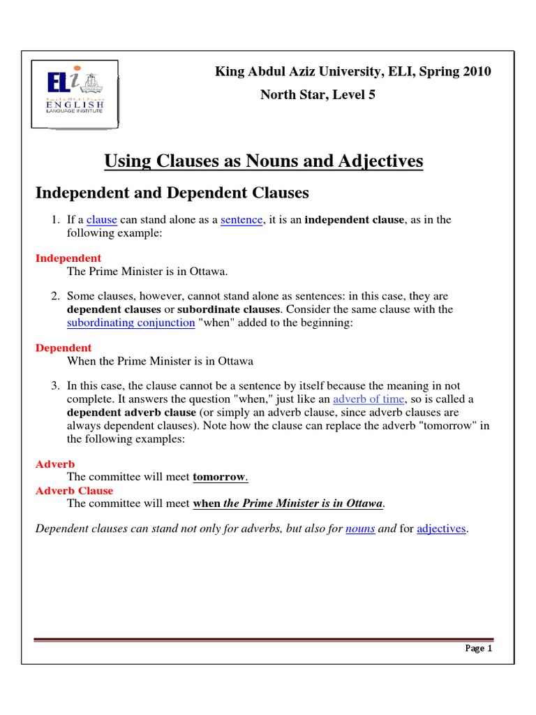 Grammar3adjective And Noun Clauses Rules And Practicepdf Adverb
