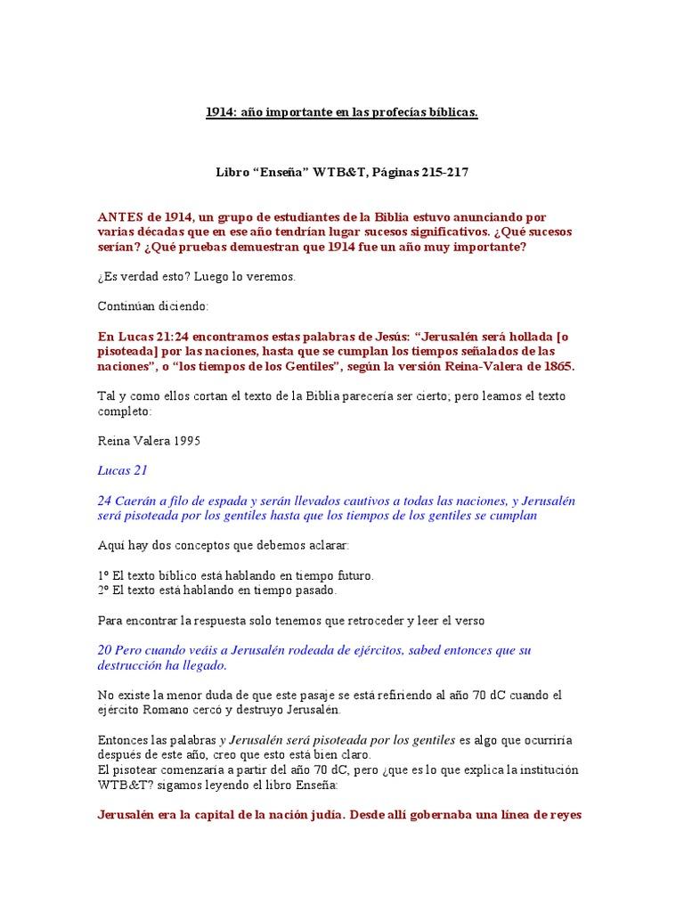 1914 año importante en las profecías biblicas