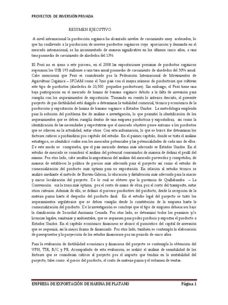 Exportacion de Harina de Platano _omportante