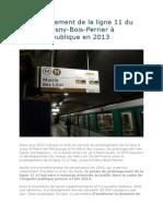 Le Prolongement de La Ligne 11 + Avis Enquete Publique