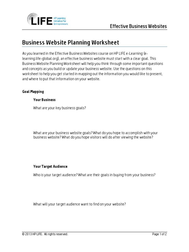 Worksheets Website Planning Worksheet business website planning worksheet target audience websites