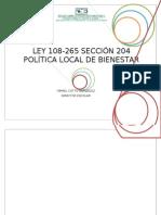 104451291 Ley 108 265 Seccion 204 Politica Local de Bienestar de La Escuela Agustin Ortiz Rivera