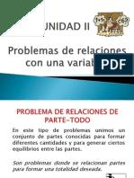 UNIDAD II. Problemas de Relacion de Una Variable.