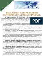 Declaración Principios en torno a una  Etica Universal