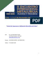 Control de impurezas en refinación electrolitica del Cu Intermet