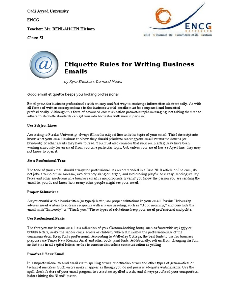 Etiquette rules for writing business emails email semiotics kristyandbryce Choice Image