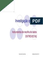 Instrumentos de Recolha de Dados Entrevistas
