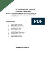 Informe de Actividades Del Curso de Actividades Comunitarias