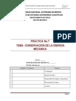P 07 CONSERVACIÓN DE LA ENERGÍA  2014 I