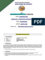 Programacion Analitica de Lenguaje y Literatura 5 (Profesor Aldo Sanchez) Cuarto Bimestre