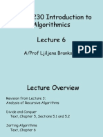 Lecture6 - Analysing Recursive Algorithms - Divide and Conquer; Sorting
