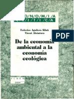 De La Economia Ambiental a La Economia Ecologica